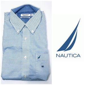 Nautica Mens Blue Button Down Dress Shirt Sz M NWT